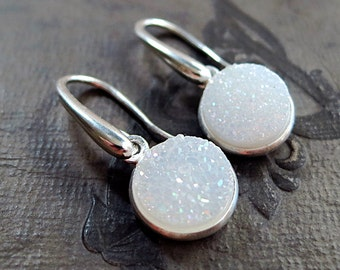 Drusy earrings, Sterling Silver, white gemstones, Snow Drops