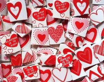 Mosaic Tiles--Hearts-Love-Valentine Day-Perfect for your special mosaic projects--46 pieces