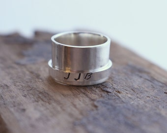 Personalized Sterling Silver Spinner Ring - Fiddle Meditation Wide Band Ring SR109