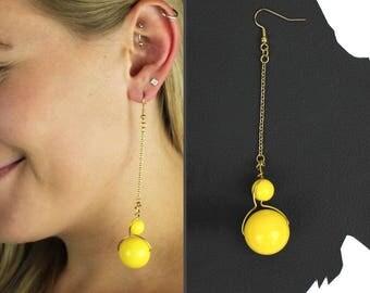 Yellow Bubble and Fizz Drop Earrings