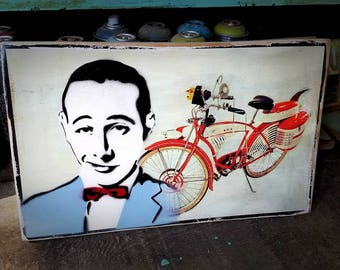 Pee Wee Herman Mixed Media Graffiti Art Painting on Photo Transfer Original Art on Handmade Canvas Home Decor Pop Art Pee Wee Herman