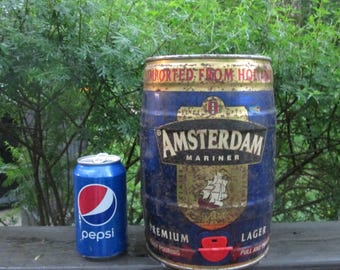 Vintage Giant Beer Can - Amsterdam Mariner of Holland - Rustic Bar/ Man Cave Decor
