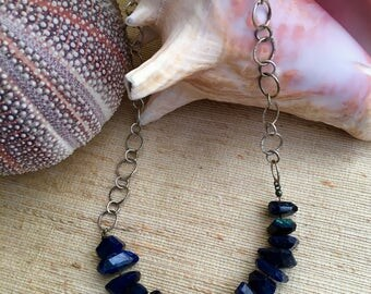 Flash of Blue Labradorite and Sterling Necklace