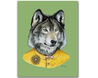 Wolf Lady art print - Modern kid art - Animals in Clothes - Animal Art - Modern Decor - Ryan Berkley Illustration 5x7