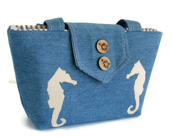 Denim Wayfarer Purse - Seahorse Appliques - Shoulder Bag - Nautical - Summer Seaside -  Vegan