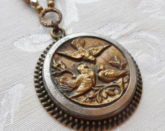 Quail, Antique Button Necklace with Freshwater Pearls, Timeless Trinkets