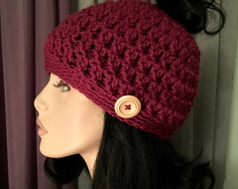 Messy Bun Button Hat Crochet Hat Womens Raspberry Color Chunky Button Hat Crochet Accessories Hat Womens Slouchy Tam Beret Crochet Hat