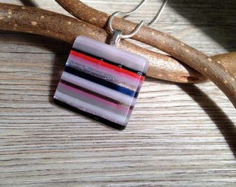 Striped Pendant Silver Necklace / Fused Glass Necklace / Square Pendant / Lines Pink Candy Stripe Necklace - in Gift box FREE UK SHIPPING
