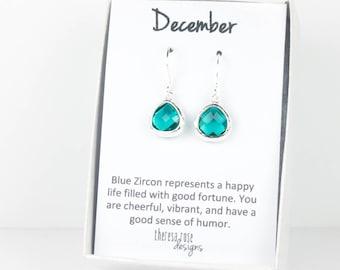 Tiny December Blue Zircon Birthstone Silver Earrings, Silver Earrings, Blue Zircon Silver Earrings, December Birthstone, December Birthday