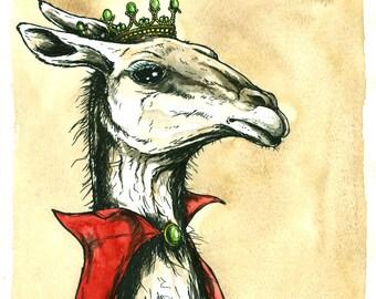 Llama Queen (an original hand painted queen)
