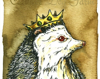 White Hedge Hog King  ~~  Original painted watercolor Sepia Print