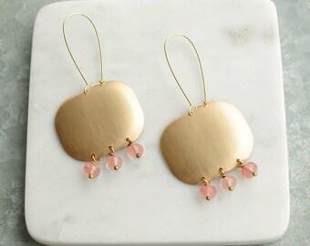 Chandelier Earrings, Pink and Brass Chandelier Earrings, Long Dangle Earrings