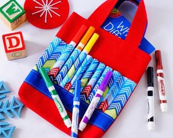 Crayon Tote • Crayon Bag • Coloring Bag • Art Tote • Crayon Holder • Crayon Roll • Ring Bearer • Busy Bag • ARTOTE • Zig to the Zag