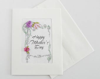 Mother's Day card, embroidered lavender silk rose greeting card, silk ribbon card, handmade card, ribbon embroidery card