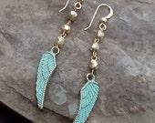 Turquoise Angel Wing Earrings, Turquoise Gold Earrings, Gold Bead, Dainty Long Dangle, Boho Bride, Boho Bridesmaid, Boho Wedding Rustic