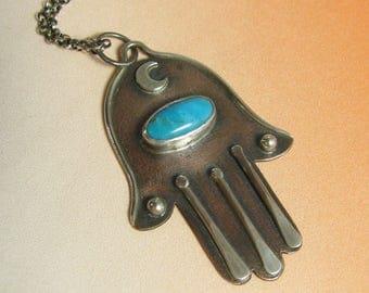 Turquoise Necklace, Hamsa Necklace, Ethnic Necklace Hamsa Pendant Hand Amulet Necklace Copper Jewelry Turquoise Jewelry, Mixed Metal Jewelry