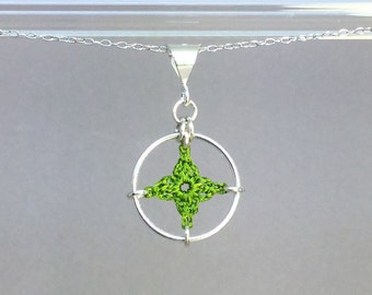 Spangles, green silk necklace, sterling silver