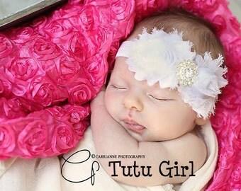 White Baby Headband, White Flower Girl Headband, Baby Girl Hair Accessories, Flower Girl, Newborn, Toddler, White Head Band