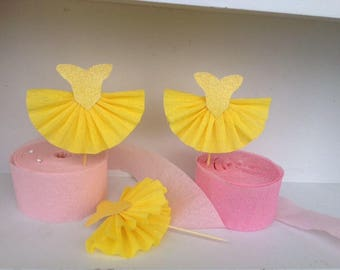 Birthday Decorations Beauty and the Beast Inspired Ball Gown Cupcake Toppers Set of Six