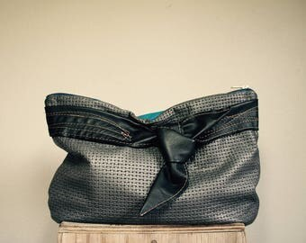 Fancy///Oxford Clutch in Mixed Imported Lambskin and Neon Blue Leather with Black Bow