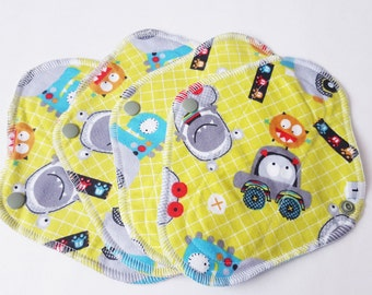 Mama Cloth / Cloth Pads / Pantyliners 8 inch - Set of 4 Monsters Printed Flannel FREE Shipping