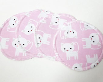 2 Sets of Cat Printed Cotton Nursing Pads with Organic Bamboo Terry FREE Shipping