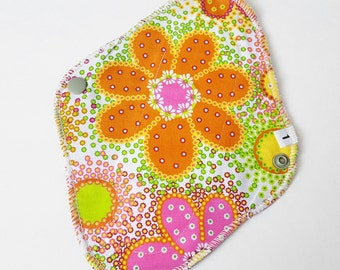 Cloth Mama Pad Pantyliner 8 inch - Bright Flowers FREE Shipping
