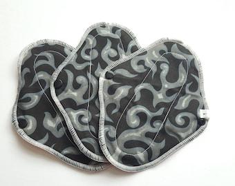 Set of 3 Cloth Mama Pad Pantyliners 8 inch - Black & Gray Swirl Printed Cotton FREE Shipping