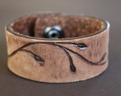 Leather Cuff Bracelet, Upcycled, Recycled Belt, Brown Lether Cuff, Leaf, Floral Design