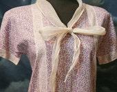 Vintage 1920s Art Deco Sweet Flapper Cotton Day Dress - Size Medium
