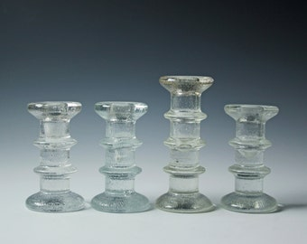 Set of 4 vintage glass candle holders - candle sticks