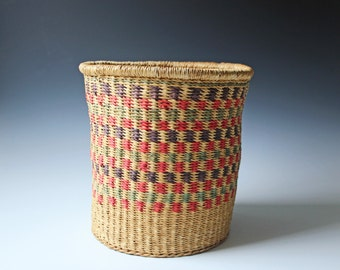 Large vintage woven straw plant holder -  bohemian planter - boho room decor