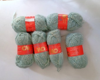 Columbia Minerva Yarn 6 skeins of yarn Retired Knitting Worsted Weight Green Cotton Yarn