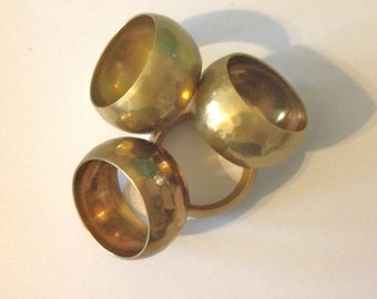 Four Brass Napkin Rings Vintage 70s Made in India