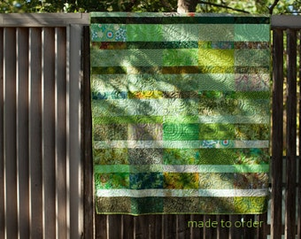 Heirloom Modern Handmade Quilt Green Bedroom Decor King Queen Double Twin Throw Size Contemporary Fiber Art Quilts Custom Sizes Modern Bed
