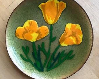 Vintage MidCentury California Poppies Enamel on Copper Plate by Artist AnneMarie Davidson Sierra Madre CA