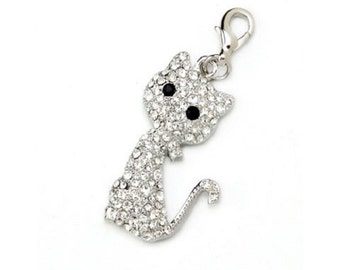 RHINESTONE CAT Charm OR Pendant ---- Mix and Mingle Charm with Lobster Clasp