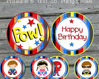 Super Hero Centerpiece Printables - SuperHero large birthday circles - Table Decor - Spiderman Superman Batman Supergirl - INSTANT DOWNLOAD