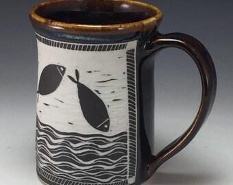 Stylized Fish Sgraffito Mullet designed Mug Webb Pottery