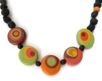Retro Necklace, Circles Necklace, Polymer Clay Necklace, Black Lava Stone, Lava Bead Necklace, Black Orange Necklace, Green Yellow Necklace