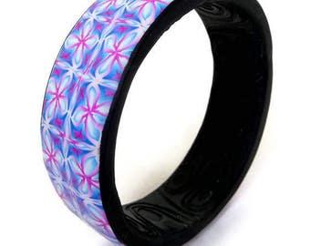 Polymer Bracelet Boho, Colorful Bracelet, Gift Under 50, Blue Bracelet Pink, Kaleidoscope, Bracelet Polymer Clay, Bangle Polymer Clay