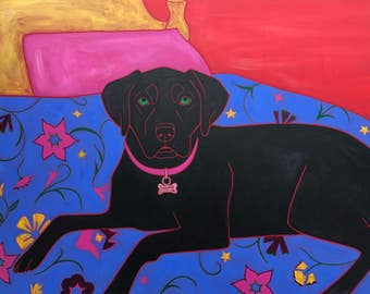 Labrador Art Matted Print - Colorful Dogs by Angela Bond