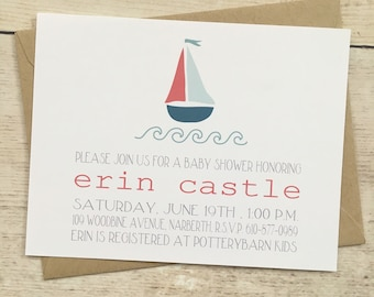 sailboat baby shower invitation boy