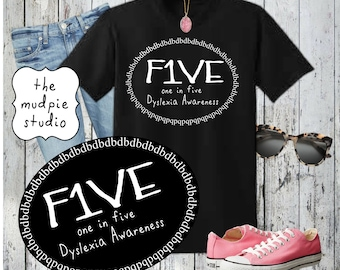 Dyslexia Awareness T-Shirt 1 in 5 - Youth or Adult
