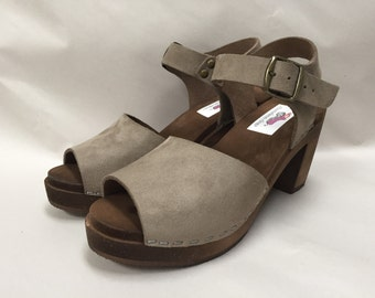 """Open toe Grey Flocked """"Suede"""" Mary Jane on a brown Super High Heel with a buckled ankle strap and bronze buckle"""