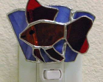 Stained Glass Fan Tail Fish Night Light Suncatcher
