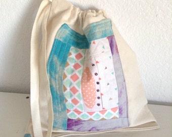 Canvas drawstring bag Sock knitting bag. Project bags for knitting small sock bag Project bag knitting