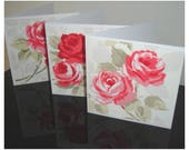 Pack of 3 Roses Cards Notelets Blank Greetings Card x Three