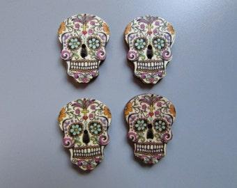 Wooden Sugar Skull Calaveras Day of the dead Buttons X 4