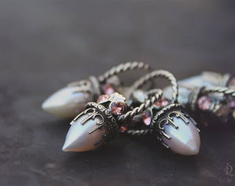 Pearl and Opal Pendant // Freshwater Pearl and Swarovski and Sterling Silver petite, by BellaLili, Welded Silversmith